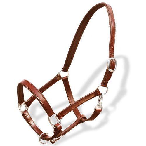 Vidaxl uprząż na głowę konia z prawdziwej skóry, regulowana, brązowa