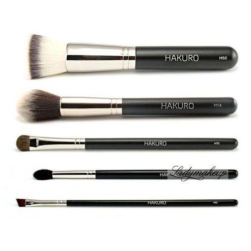 - zestaw 5 pędzli do makijażu twarzy i oczu - podstawowy marki Hakuro