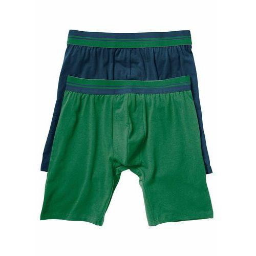 Długie bokserki (2 pary) bonprix ciemnoniebieski + zielony, bawełna