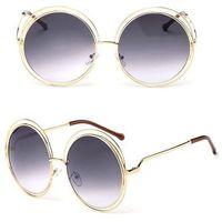 Okulary damskie okrągłe przeciwsłoneczne złote