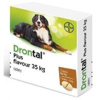 Bayer  drontal plus flavour - preparat przeciwpasożytniczy dla psów 2tab. 1 tab. na 35kg (5909997002613)