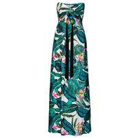 Długa letnia sukienka bonprix zielony w kwiaty