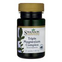 Kapsułki Swanson, Triple Magnesium complex 400mg, 30 kapsułek - Długi termin ważności! DARMOWA DOSTAWA od 39,99zł do 2kg!