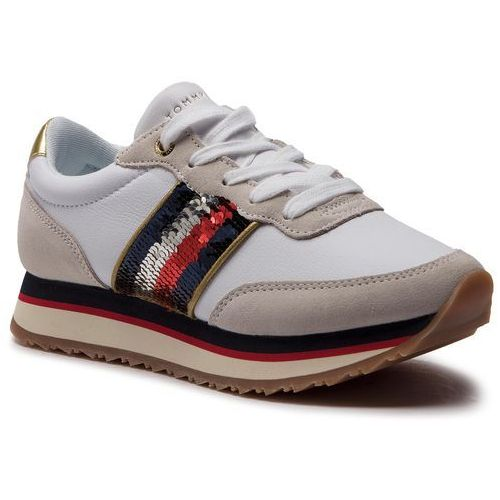 926293ea0cfa5 Tommy hilfiger Sneakersy - tommy sequins retro runner fw0fw03703 white 100  - galeria Tommy hilfiger Sneakersy