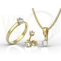 Węc - twój jubiler Zestaw: pierścionek, kolczyki i wisiorek z żółtego i białego złota z cyrkonią lp-8027zb-c-zest