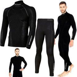 Bielizna termoaktywna BRUBECK EXTREME WOOL komplet MĘSKI koszulka+spodnie czarny L (LS11920+LE11120)