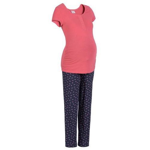 469a7a62efe67f Piżama dla karmiących dymny malinowy - niebieski (bonprix) opinie + ...