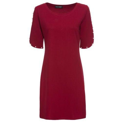 6904ee3b49 Bonprix Sukienka z dżerseju akcentująca ramiona bonprix bordowy wzorzysty