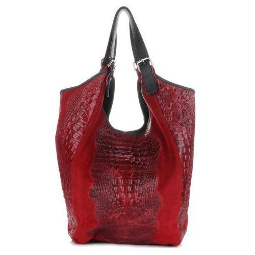 754054addf6e9 Duża Torba skórzana Shopper XXL Aligator Bordowe (kolory), kolor czerwony