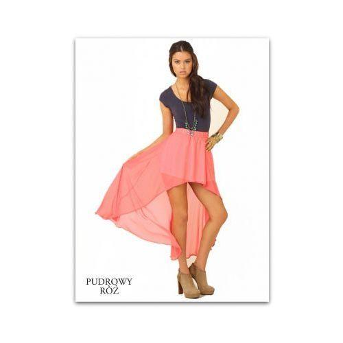 Zwiewna maxi spódnica asymetryczna szyfon pudrowy róż, kolor różowy