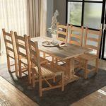 Vidaxl zestaw mebli do jadalni 7 elementów, stół i krzesła, drewno tekowe (8718475528807)