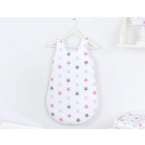 Mamo-tato śpiworek niemowlęcy do spania gwiazdki szare i różowe d