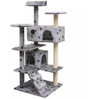 Vidaxl drapak dla kota, 125 cm, szary ze wzorem w kocie łapki (8718475522775)