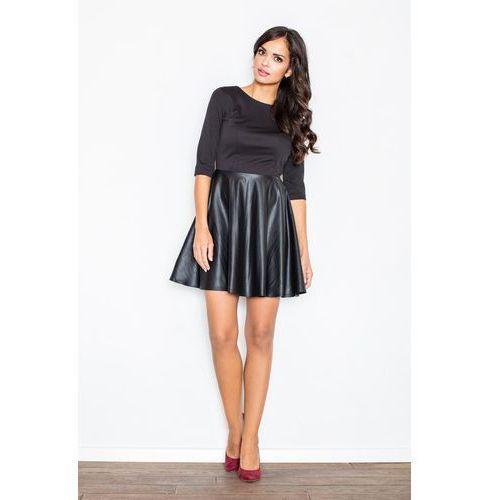 6a31335e13 Zobacz ofertę Czarna sukienka z rozkloszowaną spódnicą z ekoskórki