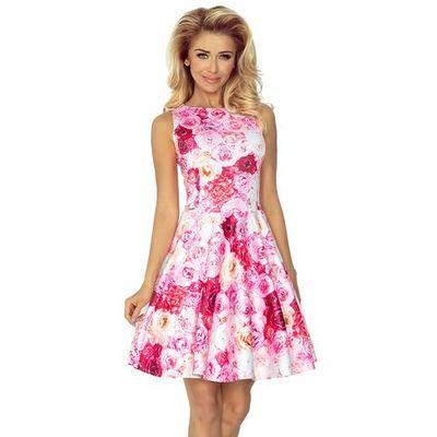 7c47e40201c418 Sukienka w Róże Rozkloszowana bez Rękawów z Dekoltem w Łódkę, rozkloszowana  MOLLY