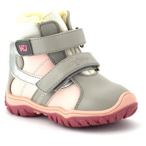 Dziecięce buty zimowe Wojtyłko 20048 - Różowy ||Szary, kolor różowy