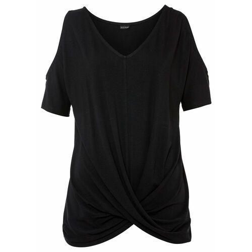 Shirt w prążek, ze sznurowaniem biel wełny marki Bonprix