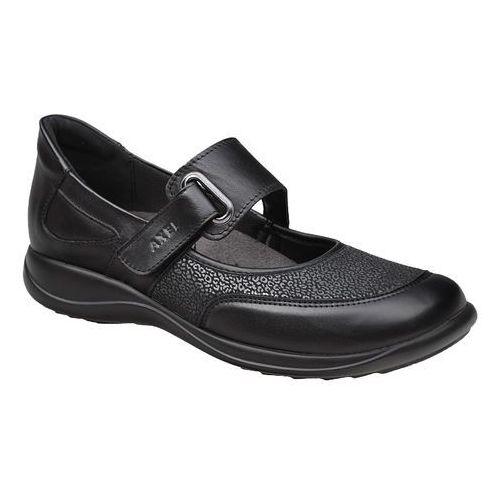 Półbuty na rzepy buty AXEL Comfort 1576 Czarny + Stretch H na haluksy - Czarny, kolor czarny