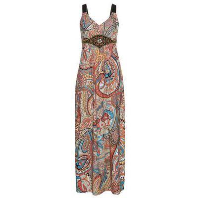 36a2ab4f2c Letnia sukienka z nadrukiem i aplikacjami żółto-jasnoróżowy z nadrukiem  marki Bonprix bonprix