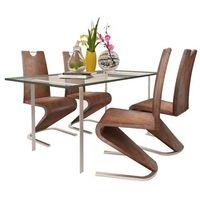 Vidaxl zestaw 4 krzeseł brązowych ze sztucznej skóry z podstawą w kształcie u (8718475902577)