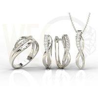 Zestaw - pierścionek, kolczyki i wisiorek z białego złota z diamentami lp-6708b-zest