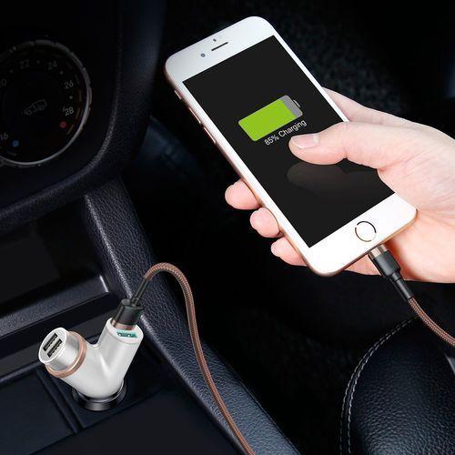 Baseus Y Type Car Charger ładowarka samochodowa 2x USB + gniazdo zapalniczki 3.4A biały (CCALL-YX02) (6953156280267)
