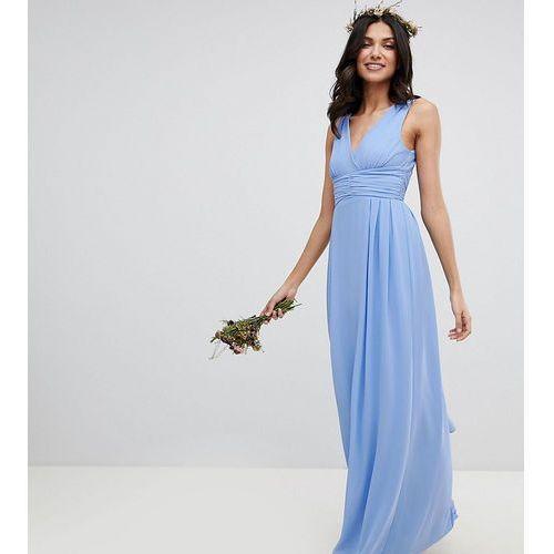 4d0dfddea3 Tfnc tall wrap front maxi bridesmaid dress with tie back - blue - Zdjęcie  produktu