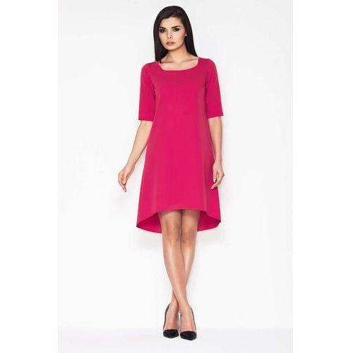 7579119291 Różowa Koktajlowa Asymetryczna Sukienka z Krótkim Rękawem