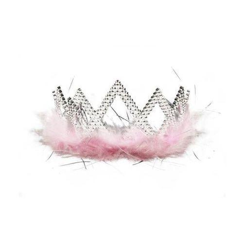 Tiara srebrna LUX z różowym marabu - 1 szt.. (5903364671860)