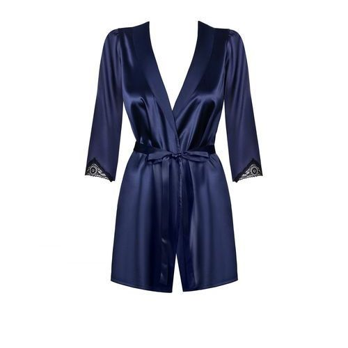Granatowy szlafroczek - Obsessive Satinia Robe & Thong Dark Blue S/M (5901688215609)