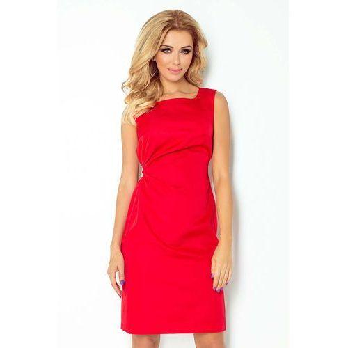 41b747ad8e Czerwona lśniąca koktajlowa sukienka z wiązaniem (Numoco) - sklep ...