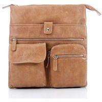 Raportówka listonoszka w stylu Vintage jasny brąz - jasnobrązowy Listonoszki Vintage Divino + Plecak 6601 + B-05 (-23%)