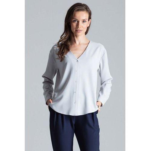 Szara elegancka koszula z dekoltem w serek marki Figl