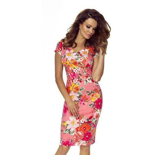 Sukienka w kwiaty z subtelnym dekoltem w serek, M56961