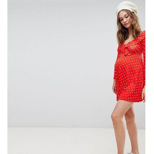 Asos maternity Asos design maternity sweetheart neck mini dress in polka dot print - multi