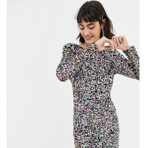 Mango long sleeve sequin dress in rainbow - Multi