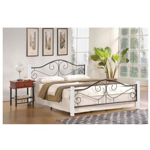 łóżko Eline 120x200 Cm Biały Czarny Kolor Biały Producent Elior