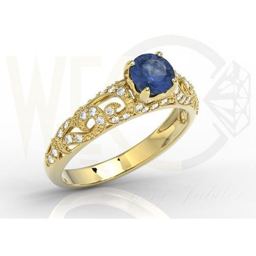 Pierścionek zaręczynowy z żółtego złota z szafirem i cyrkoniami bp 50z c  szafir ||cyrkonia marki