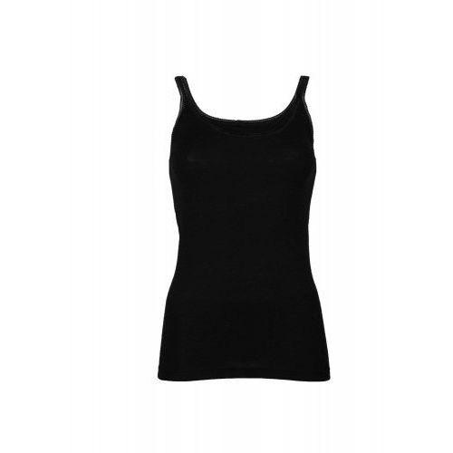 Podkoszulka damska z wełny merynosów (100%) - na wąskich ramiączkach - czarna - DILLING, kolor czarny