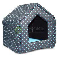 Legowisko domek dla psa kota niebieskie kropki S