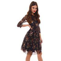 Sukienka Musca czarna w złote kwiaty