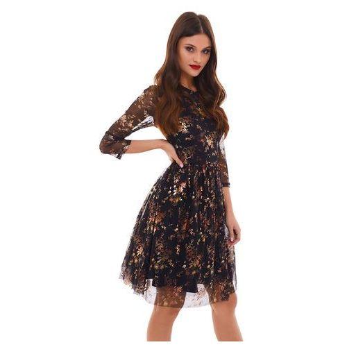 Sukienka musca czarna w złote kwiaty marki Sugarfree
