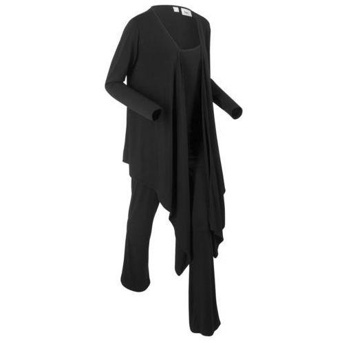 Dres rekreacyjny 3-częściowy z workiem bonprix czarny, kolor czarny