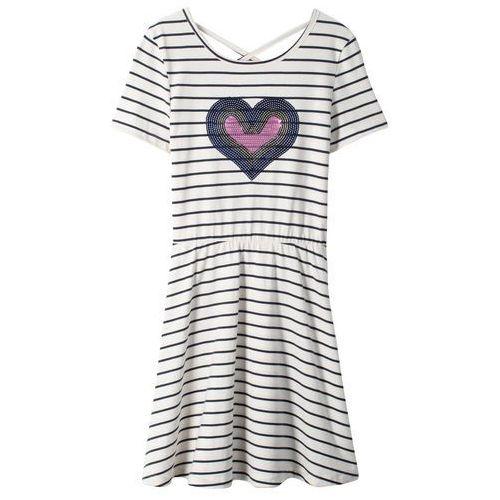 25fde352df Zobacz ofertę Sukienka z cekinami bonprix biel wełny - ciemnoniebieski w  paski
