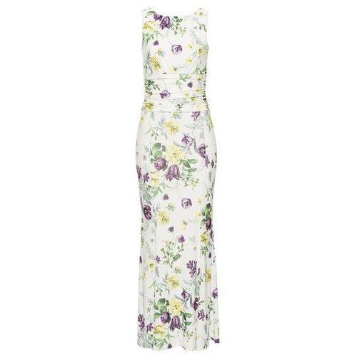 Sukienka w kwiatowy deseń kremowy, Bonprix, 32-50