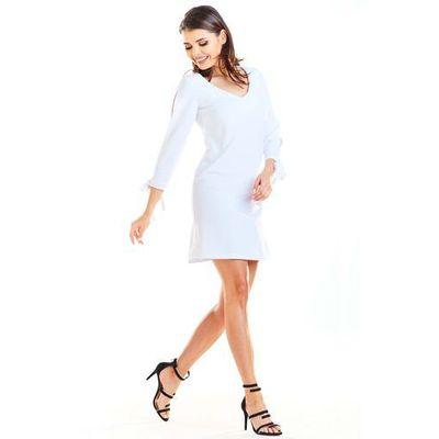 5c6f76da71 Biała Trapezowa Mini Sukienka z Kokardą przy Mankietach