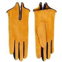 Rękawiczki damskie czarne zamszowe z suwakiem dotykowe 24