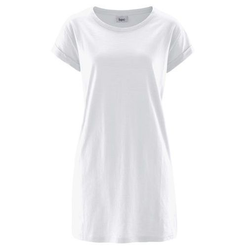 """Bonprix Długi shirt """"boxy"""", krótki rękaw biały"""