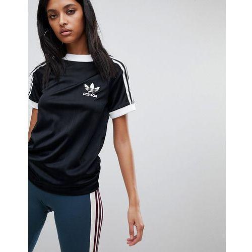Three stripe polyknit t shirt in black black (adidas