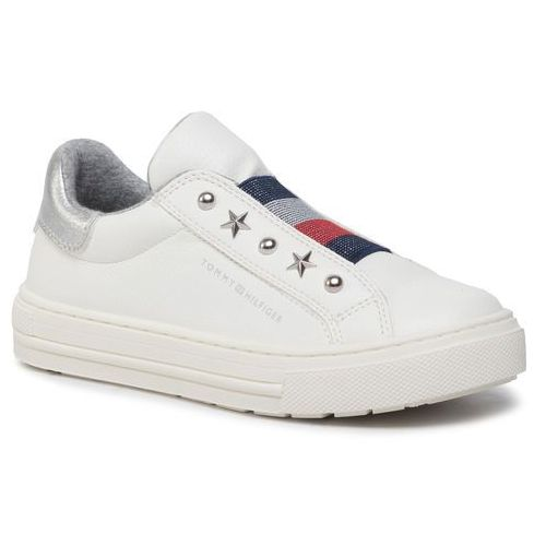 Sneakersy TOMMY HILFIGER - Low Cut Sneaker T3A4-30435-0709100 White 100, kolor biały
